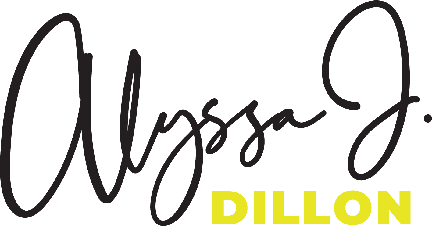 Logo for Alyssa J Dillon, Alyssa is black and in a script and dillon is in lemon yellow in a sans serif underneath.